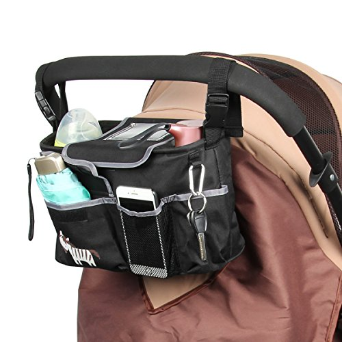 Baby Jogging Stroller Organizer Bag - Stars Wish Universal Lightweight Jogger Stroller Diaper Bag Organizer With Double Cup Holders, Mesh bags, Lots of Storage for Phones, Wallets, Drinks and Toys