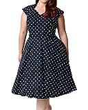 Search : Daci Women's Plus Size Polka Dot 50s Hepburn Style Vintage Casual Party Midi Dress