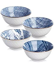Y YHY Cereal Bowls, Ceramic Bowls for Soup, Salad, Pasta, Rice, 24 Ounces Ramen Bowls, Microwave Dishwasher Safe, Assorted Blue White Patterns, Set of 4