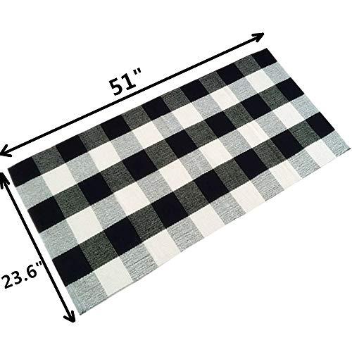 Ustide 100 Cotton Plaid Rugs Black White Checkered Plaid