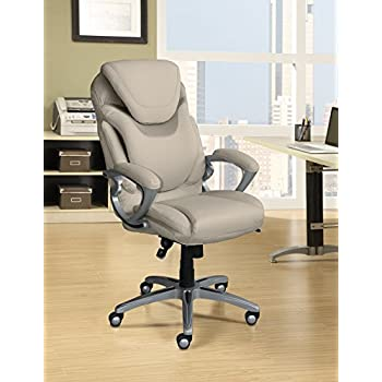serta works executive office chair with air technology bonded leather cream