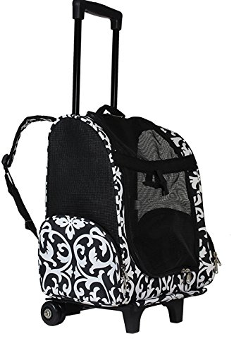 lcm portable small pet carrier backpack with wheels carry on mesh luggage black and white damask. Black Bedroom Furniture Sets. Home Design Ideas