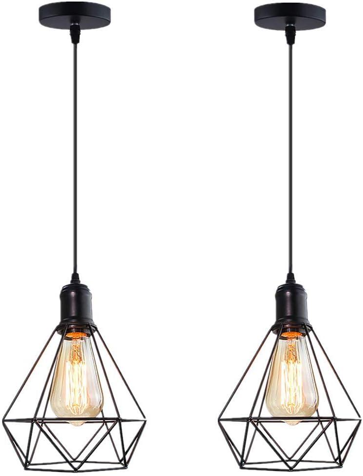 Lámpara de techo industrial vintage, retro, lámpara de techo, industria, araña, pantalla de lámpara, colgante, con casquillo E27 (2 unidades)