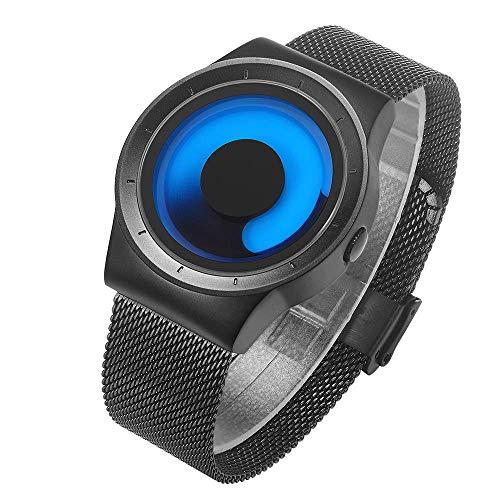 - Mens Black Watches Men Waterproof Fashion Unique Design Cool Wrist Watch Stainless Steel Mesh Watch for Men Blue