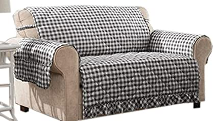 Charmant Innovative Textile Solutions Gingham Sofa Protector, X Large, Black
