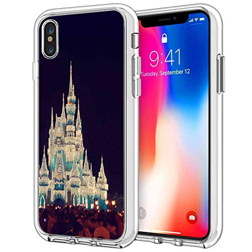 DISNEY COLLECTION Compatible Apple iPhone Xs Max 6.5in Blue Castle Disney Land Mickey Minnie Night Time People Christmas