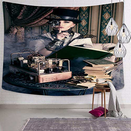 Peyqigo Wall Hanging Tapestry 50x60 Inch Polyester Portrait Steampunk Woman Medieval Style Outfit Historic Fashion Art Photo Bedroom Living Room Dorm Decoration Picnic Mat Beach ()