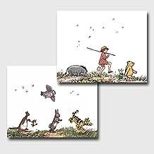 "(Set of 2) Classic Winnie the Pooh Nursery (Baby Wall Art, Girls Room Decor, Boys Bedroom) ""Animal Parade"" -- Unframed"
