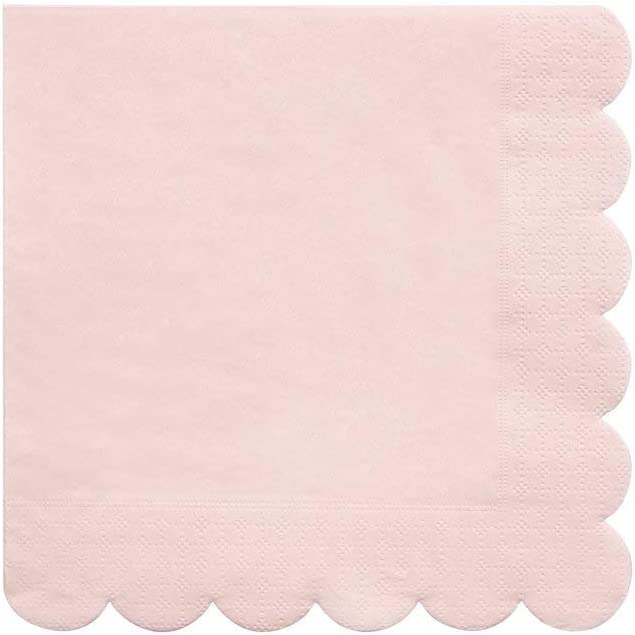 Meri Meri Pale Pink Square Paper Napkins - Disposable Party Supplies, For Holiday Parties, Weddings, Birthdays, For Everyday Use, Large 6.5 x 6.5 Inch Size, 20 Count