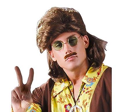Peluca Montañés castaña - Peluca de Hippie hombre: Amazon.es ...