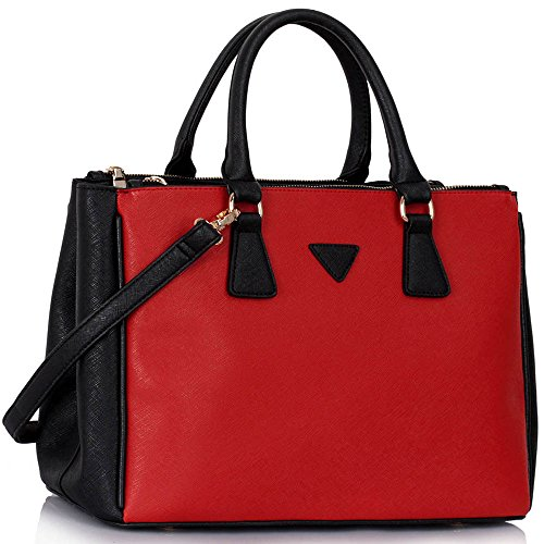 College Tote Ladies New Strap Shoulder Design 3 Black Red Look Compartments Designer Large With Office Womens Handbag 1 Bag HqRxzn1