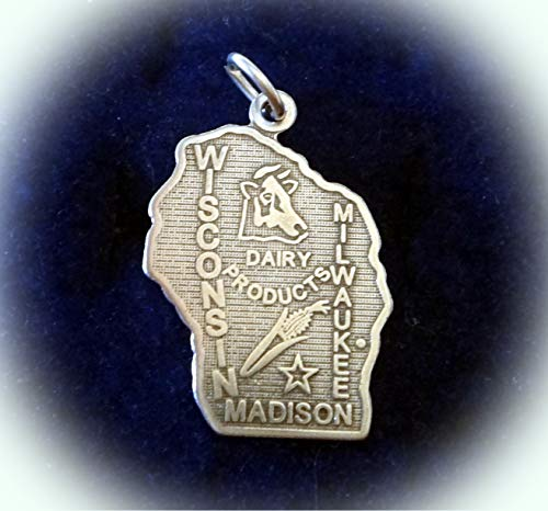 Sterling Silver 22x15mm Wisconsin State Charm Vintage Crafting Pendant Jewelry Making Supplies - DIY for Necklace Bracelet Accessories by CharmingSS