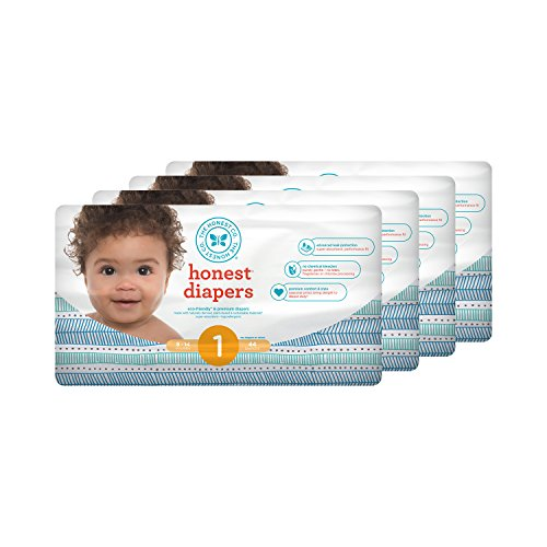 Honest Baby Diapers, Teal Tribal, Size 1, 176 Count