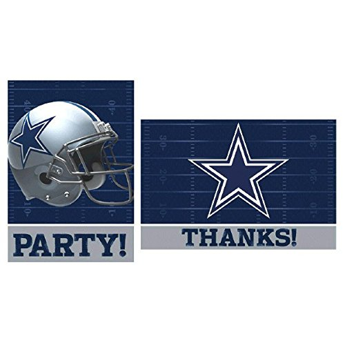 Licensed MLB Dallas Cowboys Party Invitation and Thank You Card Set, Paper, 3