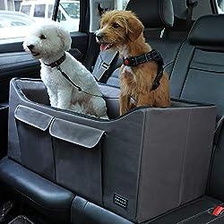 """Petsfit Dog Car Seat Large Pet Car Booster Seat Lookout Car Seat for Medium Dog up to 45 Pounds 29.5"""" Lx16 Wx14 H"""