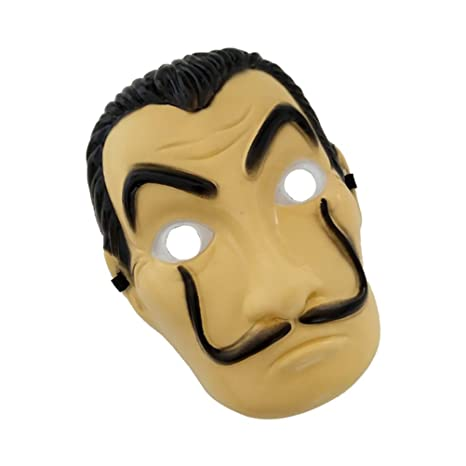 Amazon.com: AODEW Salvador Dali Original La Casa De Papel Mascara Money Heist Face Mask PVC Mask Cosplay Realistic Movie Prop Face Mask: Toys & Games