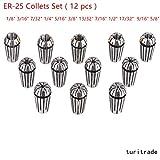ER25 Spring Collet Set for CNC Milling Lathe Tool & Engraving Machines 12Pcs