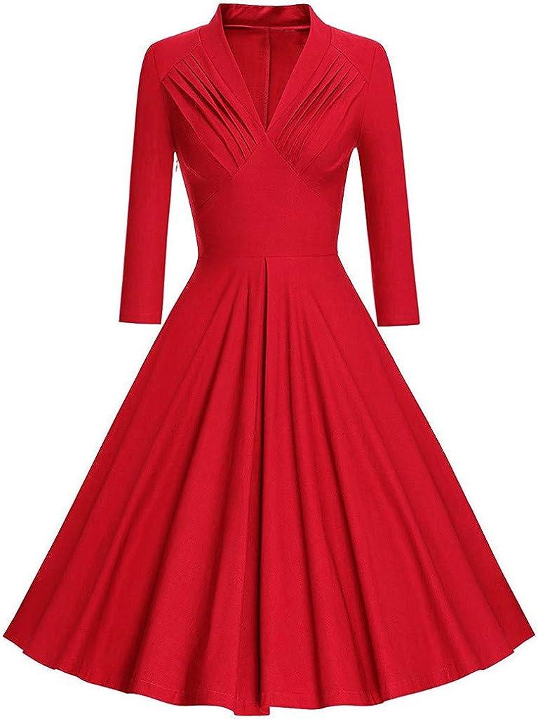 Fashion Womens Long Sleeve Vintage Dress Solid V-Neck Retro Swing Party Dress Palarn Fashion Clothes