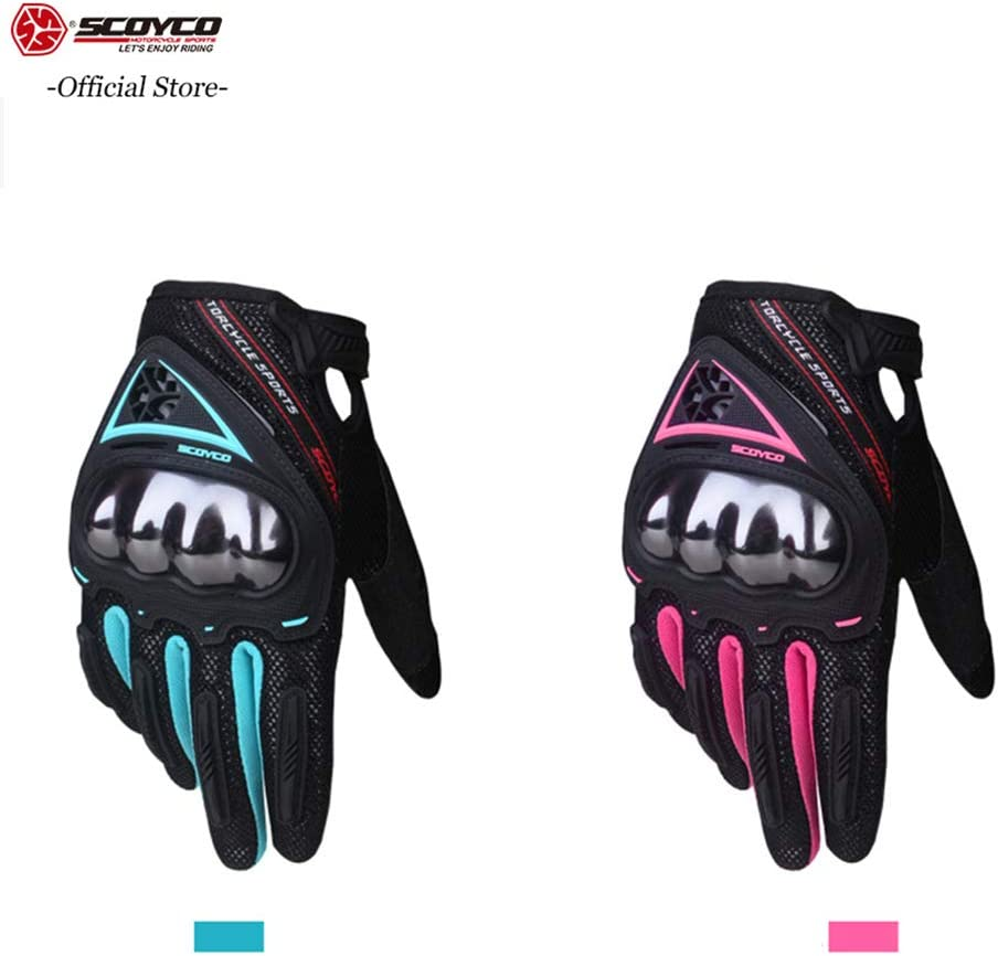 SCOYCO 2019 Women Motorcycle Gloves Touch Screen Breathable Anti-skid Shockproof MBX//MTB//ATV Cycling Glove Motorbike Gloves Pink, M