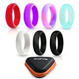 Silicone Ring For Women, 7 Colors Pack Skin Safe Comfortable Stylish Wedding Bands For Fitness, Yoga, Travel, Exercises With A Gift Box!
