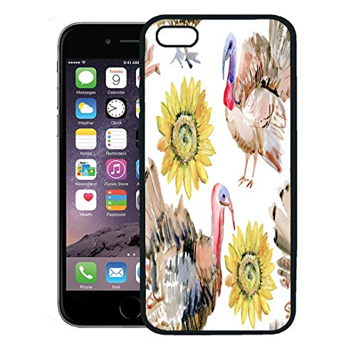Semtomn Phone Case for iPhone 8 Plus case,Blue Thanksgiving Watercolor Painting of Turkey Bird and Sunflower Colorful Abstract iPhone 7 Plus case Cover,Black