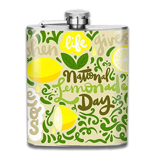 Personalized Flask,Bridesmaid Gifts,Groomsmen Gift,Customized Groomsman Flasks, Wedding Favors National Lemonade Day