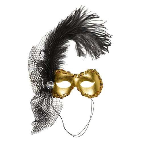 [Mardi Gras Mask Feathers Halloween Costume Mask Italian Masquerade Black Gold Color:: Gold] (Black Sparkly Dance Costumes)
