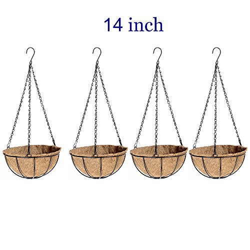 4 Package Large 14 inch Wire Plants Baskets with Coco liner For Round Hanging Planter Flowers Holder with Chain Indoor Outside Outdoor Growers Planters Hanger Use (14inch)