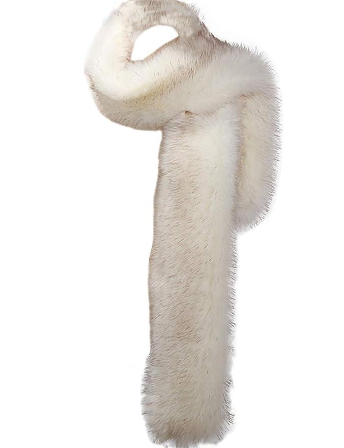 1920s Accessories: Feather Boas, Cigarette Holders, Flasks NAFLEAP Women Fox Fur Scarf Winter Warm Faux Boa Collar Long Wrap Muffler Stole Shawl Shrug $24.99 AT vintagedancer.com