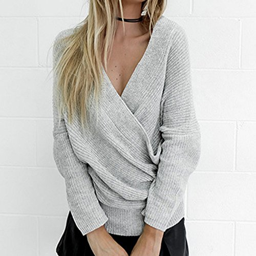 en Femme Sweater Col Wenyujh Manche Longue Casual Gris Tricot Bustier V Sexy Fashion Chandail Pull Lache wExdUqf