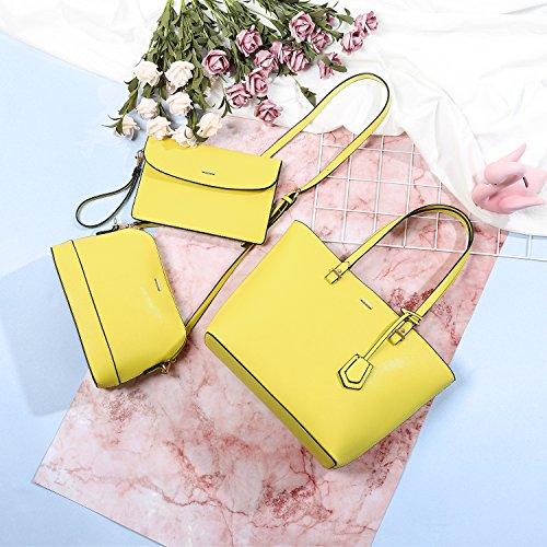 Bags Purse Tote Satchel Handbags Women for 3pcs Set Hobo Shoulder Yellow xRwxTtIq8
