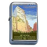 Silver Flip Top Oil Lighter Vintage Poster D-049 1930s Vintage Zion National Park Ranger Naturist Service