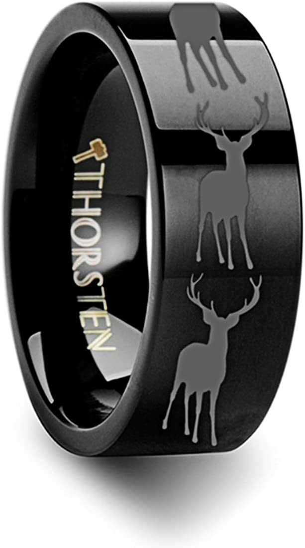 Thorsten Wildlife Stag Deer Elk Animal Antlers Print Pattern Ring Flat Black Tungsten Ring 6mm Wide Wedding Band from Roy Rose Jewelry