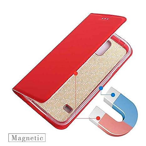 Rouge GORASS PU Solide Couverture en Cuir Flip avec Fente pour Carte Antichoc Cas De T/él/éphone Mode et Simple /Étui pour Samsung Galaxy S7 Coque Galaxy S7