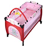 Goplus Baby Crib Playpen Playard Pack Travel Infant Bassinet Bed Foldable (Pink)