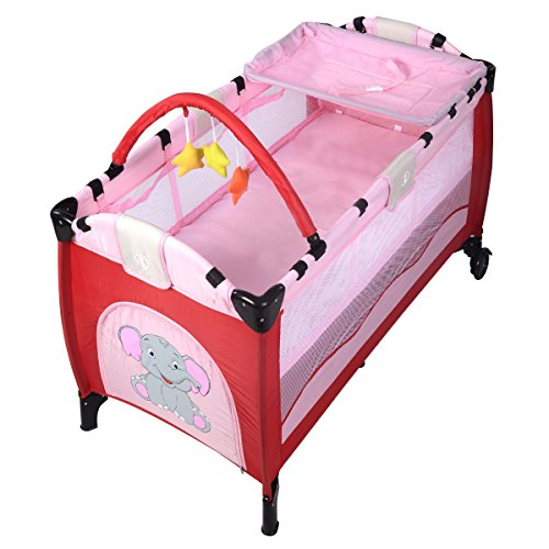 Goplus Baby Crib Playpen Playard Pack Travel Infant Bassinet Bed Foldable (Pink) by Goplus`