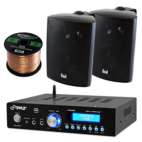 Pyle PDA5BU Amplifier Receiver Stereo, Bluetooth, AM/FM Radio, USB Flash Reader, Aux input LCD Display, 200 Watt With Dual LU43PB Indoor/Outdoor Speakers Bundle With Enrock 50ft 16g Speaker Wire (Stereo Patio)