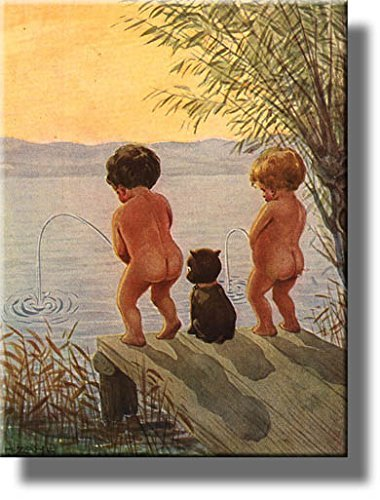 boys by the lake distance record toilet bathroom picture made on stretched canvas wall art decor ready to hang