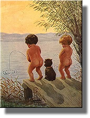 boys by the lake distance record toilet bathroom picture made on stretched canvas wall art