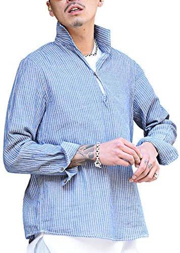 綿パナマカプリシャツ メンズ シャツ 開襟シャツ プルオーバー