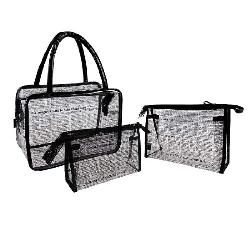 BMC Womens 3-in-1 Transparent Tinted PVC Purse w/2 Cosmetic Handbags - Set 3