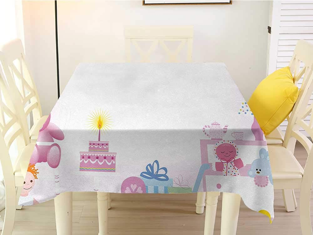 L'sWOW Tablecloth Square Tablecloth Kids Birthday Baby Girl Birthday Celebration Party with Flags and Bears Cute Toys Print Light Pink Easy 70 x 70 Inch