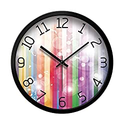 LauderHome 12-Inch Non-Ticking Silent Wall Clock with Modern and Nice Design for Living Room Large Kitchen Wall Clock Battery Operated (Multicolored Bubbles)