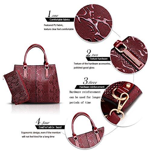 Bag Crocodile Messenger Pattern Tisdaini Two Burgundy Fashion Women's Wallet Shoulder of Handbags Handbag Sets Son S7SxAOwt