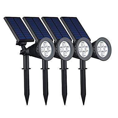 VicTsing 4 Pack Solar Spotlights,2-in-1 Waterproof Adjustable 4 LED Wall / Landscape Solar Lights with Automatic On/Off Sensor for Driveway, Yard, Lawn, Pathway, Garden