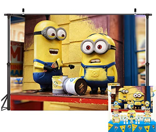 Minions Halloween Wallpaper (TJ Cartoon Minions Yellow Photo Backdrops Minions Baby Shower Kids Birthday Party Photography Background Children Studio Booth Props Banner Cake Table Decoration Supplies 7x5FT)
