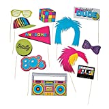 Fun Express Awesome 80's Eighties Party Photo Stick Props - 12 Pieces