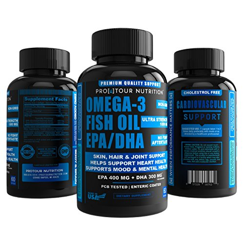 Omega 3 Fish Oil EPA/DHA Ultra Strength, Burpless, Non-GMO, PCB-Tested, 1,000mg Fish Oil/serving – 60 softgels Review