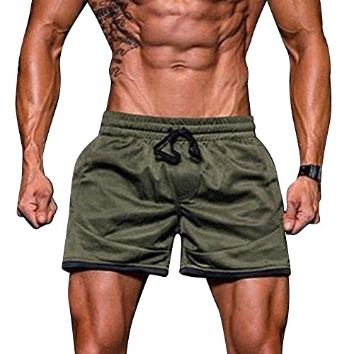 (Men's Fitness Shorts Summer Causal Elastic Waist Sport Bodybuilding Drawstring Solid Muscle Bermuda Sweatpants)