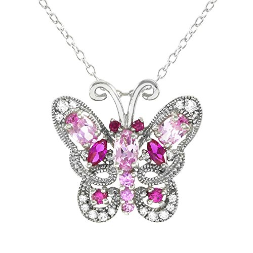 Glamouresq Sterling Silver 14k White Gold Finish Created Round Ruby and Pink Sapphire Butterfly Necklace 18